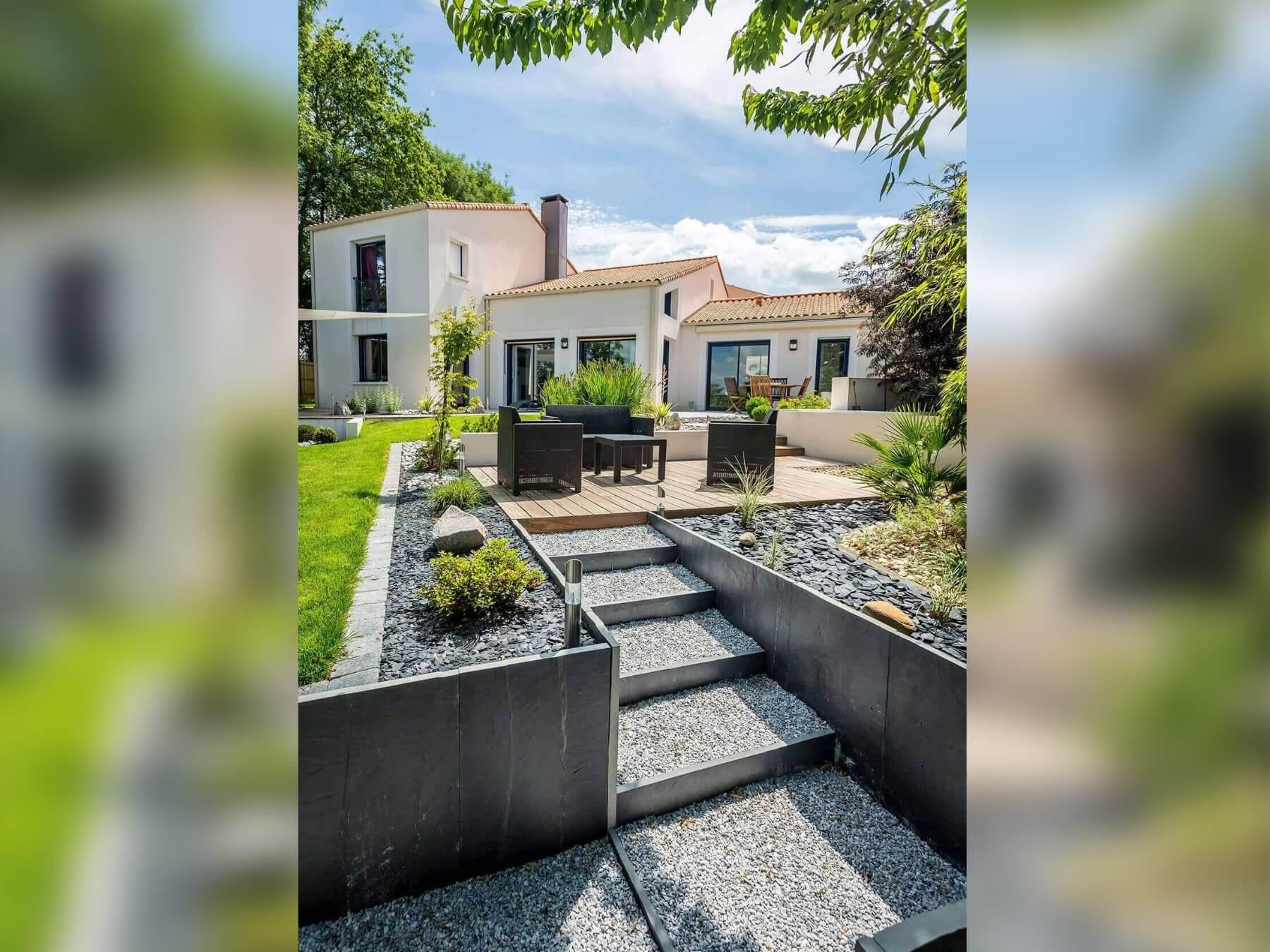 Realiser Massif Avec Galet réalisation de jardin aménagé chic et minimaliste - oxygen